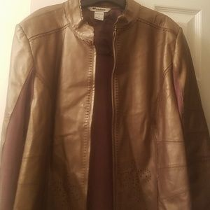 Nygard leather and knit bronze sweater jacket